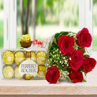 Ramo de 6 rosas y chocolates ferrero