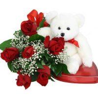 Ramo 6 Rosas Rojas + Peluche